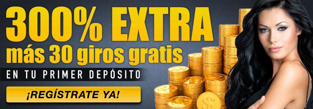Regístrate en Tragaperras-Online y recibe un bono de bienvenida del 300% más 30 giros gratis